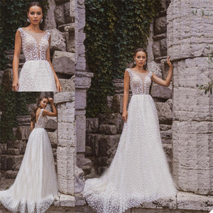 Floral Princess A Line Wedding Dresses Boho Elegant Lace Appliqued Sexy Backless Bridal Gowns Custom Made Chic Robes De Mariee
