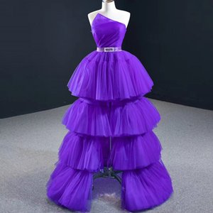 Strapless Purple Prom Dresses Ball Gown Cupcake Beaded Sash Split Prom Gowns Tulle Lace Up Party Dress Long Homecoming Dresses