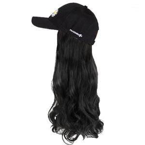 Yyoufu sombrero peluca gorra de béisbol sombrero A integrado largo pelo sintético extensión de pelo resistente al calor hombro natural ondulado ondulado