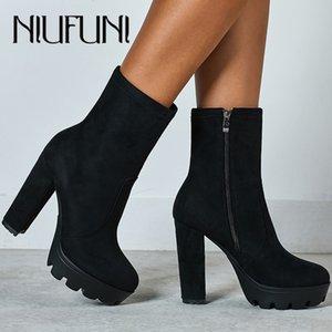 NIUFUNI 2020 Toe tornozelo mulheres Rodada Botas Outono Plataforma Botas Moda Preto Suede sapatos de salto alto Botas Mujer 1026