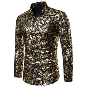 Womail Men's Baggy Blazer Print Turn-down Collar Button Long Sleeve Shirt Autumn Business Casual Shirt Slim Fit 2020 New Arrival