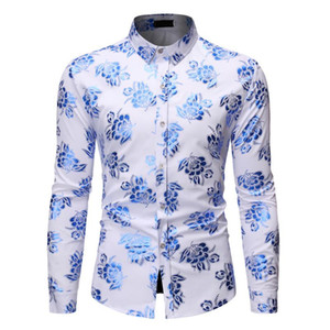 Mens Royal Blue Floral Bronzing Print Dress Shirts Slim Fit Long Sleeve White Tuxedo Shirt Men Party Wedding Business Shirt Male