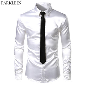 Men's 2 Pieces (Shirt+Tie) White Silk Satin Dress Shirts Slim Fit Long Sleeve Button Down Shirt Male Wedding Party Prom Chemise 201021