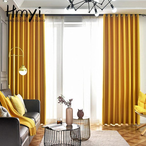 Yellow Solid Blackout Curtains for Living Room Luxury Curtains for Bedroom Window Treatment Finished Blinds Drapes1