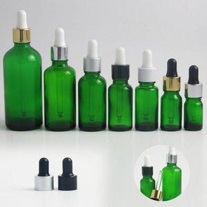 Promotion!! 20pcs 5 10 15 20 30 50 100 ml green glass bottle with pipette dropper e liquid essential oil serum perfume bottles