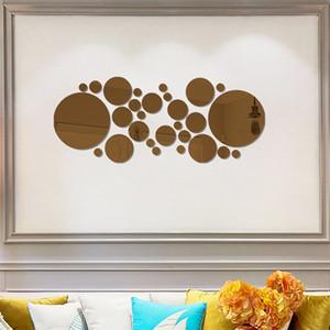 Grande pequeno redondo redondo adesivos 3d espelho espelho telhas de acrílico adesivo patrocinador corredor sala de estar ornamento decalque moda venda quente 4 6hy g2