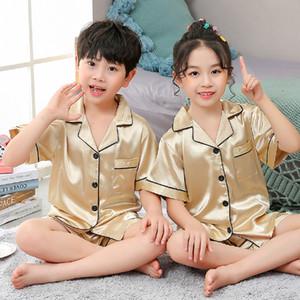 Girls Pajamas Set Summer Short Sleeve Children's Sleepwear Set Fake Silk Pajamas Boy Pyjamas Sets for Kids Children's Day Gift123