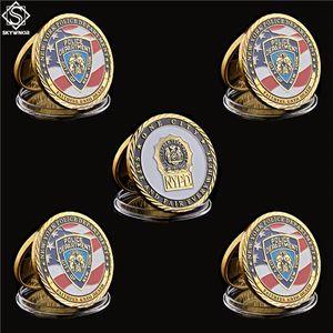 Di trasporto 5PCS / Lot Polizia sfida Coin 2017 NY City Sacrificio Army polizia placcato oro ricordo della moneta