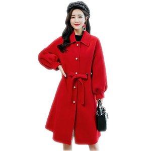 2020 New Fashion Autunno Inverno Medio Lungo Monopetto Cappotto Femminile causale Turn-down Collar Miscele Giacchette Abbigliamento da esterno F21