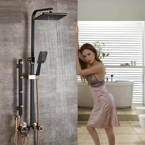 Black Golden Faucet Sets Height Adjustable Massage Jet Mixers Rainfall Shower Brass Bidet Sprayer Head Bath