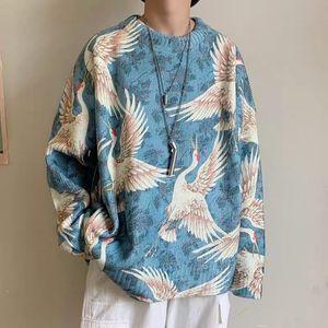 Hommes Mode Vintage motif imprimé Harajuku Pull Sweats hiver Vintage Pulls Tricoté Homme en vrac japonais Pull