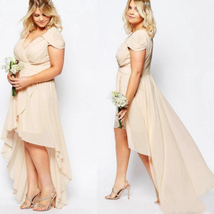 Champagne Nude Chiffon High Low Country Bridesmaid Dresses Plus Size V-neck Short Sleeve Junior Maid of Honor Guest Dress