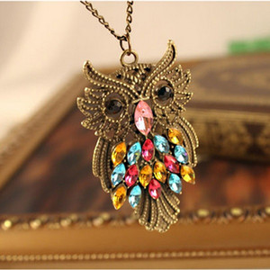 New hot sale retro colored diamond owl necklace simple and temperament sweater chain free shipp AAA38