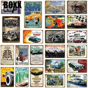 Drive Old Fashion British Car Metal Tin Sign Vintage Service & Repair Garage Metal Wall Art Poster Garage Plaque Home Decoration