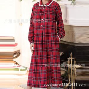 Women's 2020 winter new Long Sleeve Plaid Dress Fashion