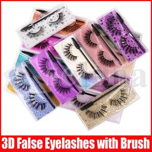 Eye Makeup Tool Thick Natural False Eyelashes with Lashes Brush Handmade Fake Lashes Accessories 15 Models