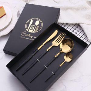 4 pièces / set de couverts alu noir cuillère argenterie mariage couteau fourchette couverts en acier inoxydable ustensiles de cuisine d'or réglée multi-scénario