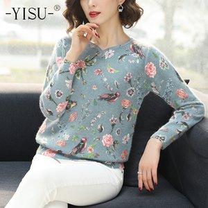 Yisu stampato maglione Donna Autunno Inverno maglione di modo floreale uccello Pullover Casual maniche lunghe maglione allentato 201012
