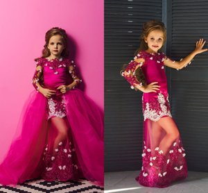 2021 Sexy Hot Pink Girls Pageant Party Dresses Mermaid Long Sleeves Detachable Train Applique Pageant Prom Formal First Communion Dress