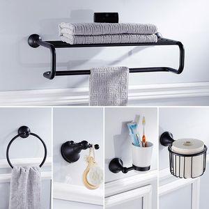 Черный Hookathroom Hardware Set Solid Brass Полотенцесушитель для ванной Полки настенные двухконтурные Стержни аксессуары для ванной держатель для туалетной щетки bbyyui mj_bag