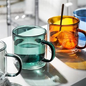 New Heat-resistant Double Wall Glass Cup Espresso Coffee Cup Set Handmade Beer Mug Tea Glass Whiskey Glass Handle Cups D bbypEx