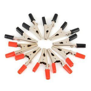 10pcs  Lot Insulated Crocodile Clips Plastic Handle Cable Lead Testing Metal Alligator Clips Clamps 52mm Length