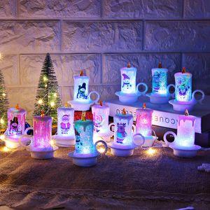 Noel LED Mum PVC Gece Taşınabilir alevsiz Mum Tablo Dekorasyon Merry Christmas Mum Masaüstü Dekorasyon KKA1829 Işıklar