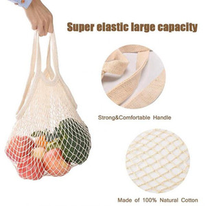 Shopping Grocery Bag Reusable Shopper Tote Fishing Net Large Size Mesh Net Woven Cotton Bags Portable Shopping Bags Home Storage Bag CCE3723