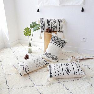 50x30cm المغربي أسود أبيض مطرز الهندسية المخدة صوفا معنقدة غطاء وسادة أسفل الظهر وسادة تغطية لمسند Wq46 #