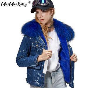 fashion brand autumn winter coat women Denim jacket girl bomber jacket faux fur thick lining coat raccoon fur Big collar 201020