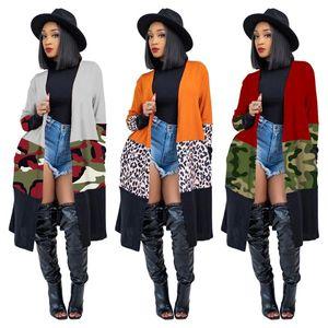 2021 Novas casacas de camuflagem de leopardo na moda para mulheres plus size moda de manga completa outwear vestuário casual vintage grande oversize top