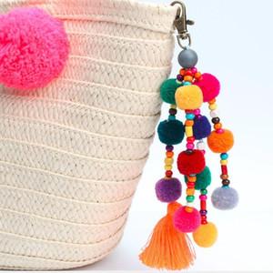 Hot Sale Colorful Pompones Cute Pom Pom Tassels Keychain Pompom Keyring Diy Hanging Tassel Key Rings Fashion Jewelry Qh6004 H bbyMAy