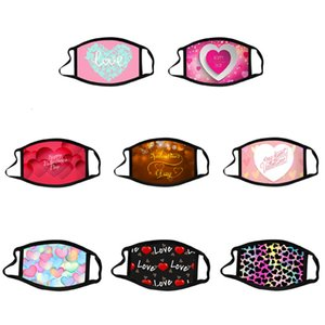2021 Valentines Day Heart Print Washable Reusable Cotton Mouth Cover Breathable Couple Protective Mask Face Masks