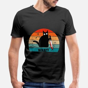 Cat What Funny Black Murderous With Knife T Shirt Classic Street Trendy Tracksuit Hoodie Sweatshirt