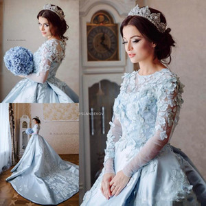 Arbric 2021 Blue Wedding Dresses Sheer Neck 3D Floral Appliques Wedding Gowns Long Sleeve Sweep Length Bridal Ball Gown Robes De Mariee