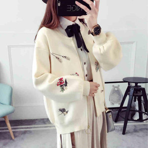 Embroidery Short Cardigan Sweater Women New Spring Autumn Fashion Knitted Long Sleeve Cardigan Thin Coat Female Students C580