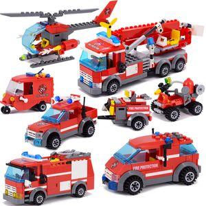 New City Fire Fighting Caminhão Veículo De Carro Polícia Building Block Brinquedos Montagem DIY DIY Crianças Brinquedos Presentes de Natal Q1222
