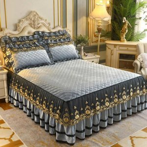 Warm High Grade Luxury Soft Bed Skirt Winter Plush Thick Quilted Bed Cover Skirt King Queen Pad Bedspread Including Pillowcase