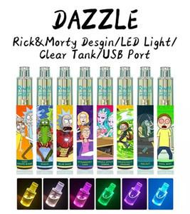 Authentic Randm Dazzle Dispositif de podage jetable Kit de pod 1100mAh Batterie 2000 Pouffelles Prérigées Pen-stylo de 5 cartouche 6 ml avec RGB Light VS Bar XXL