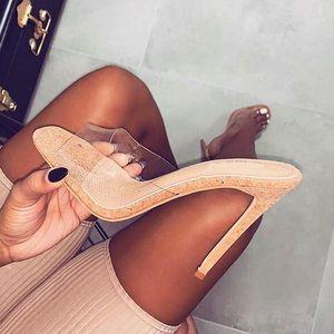 2021 PVC GELLY SANDALS Offene Zehen High Heels Frauen Transparente Perspektivenschuhe Schuhe Ferse Klarsandalen Größe 35-42Women