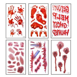 6pcs Halloween Bloody Wound Tattoo Stickers Trick Scary Waterproof Temporary Tattoo Diy Fake Tattoo Halloween Party Decoration wmtNWX