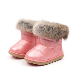 PU JGVIKOTO Kış Lastik İçin Kız Erkek Çocuk Deri Su geçirmez Çocuk Moda Kar Boots Pamuk Peluş Kürk Saç Isınma