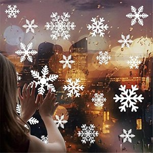 27pcs lot White Snowflake Sticker Decoration Glass Window Kids Room Christmas Wall Stickers Home Decals Decoration New Year 2021