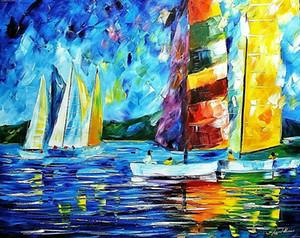 Leonid Afremov « Colorful Sail » Home Décor Artisanats / HD huile d'impression Peinture Sur Toile Art mur toile Photos 201005
