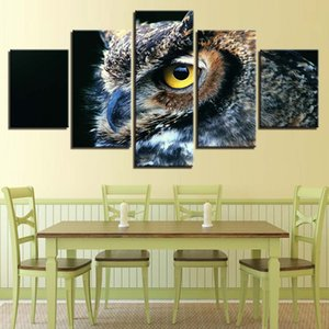 Wall Art Home Decoration Living Room Modular Pictures 5 Panel Animal Owl HD Printed Modern Canvas Painting(No Frame)