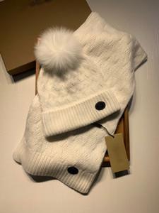 CALIENTE bufandas Caps + Set, baratos sombreros de lana de tejer bufanda, nuevo diseño sombreros de invierno de punto caliente, gorro de lana de la bufanda con el bulbo piloso zorro