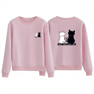 Sweatshirt Women Hoodies 2020 New Trend Spring Solid Pink O neck Print Cat Hoody Woman Hoodies Clothes Female Plus Size Pullover