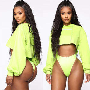 Fashion Crop Top Hoodie Women Casual Neon Green Sweatshirt O neck Solid Long Sleeve Oversize Sweatershirt Harajuku Tops Hoodie