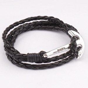 Tricô por mão esperança carta pulseira pulseira esperança âncora pingentes pulseira de couro multicamada corda de couro enrolado diy1
