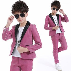 2018 Kids Jazz Dance Costumes Boys Ballroom Dancing Pink Suit Hip Hop Stage Outfit Performance Abbigliamento per bambini DNV100501